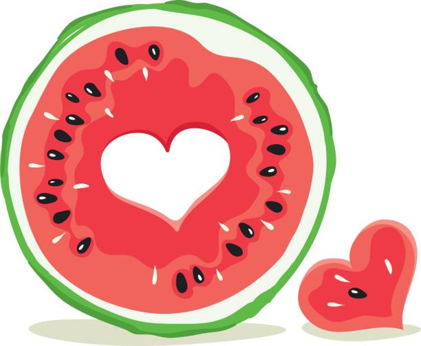 Vector illustration, slices of watermelon with a hole in the form of heart